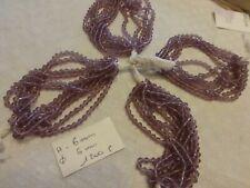 lot 1200 perle ancienne cristal TOUPIE FUSEAU violet sur fils superbes