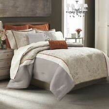 8-Pc Manor Hill Deco Opulence Queen Comforter Set Sheet Beige Rust Damask Floral