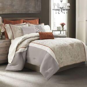 8-Pc Manor Hill Deco Opulence Queen Comforter Set Sheet Beige Rust Damask Floral