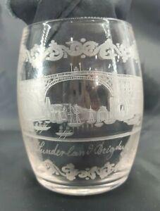 Stunning Antique Georgian Engraved Sunderland Bridge Glass Half Pint Tankard