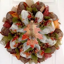 Colorful Oak Leaf With Bells Handmade Fall Wreath Handmade Deco Mesh