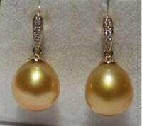 PERLFEKT Ohrringe Diamanten grosse goldene Südsee Perlen 585 14K Top!