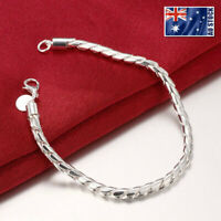 925 Sterling Silver Filled 4MM Polished Twisted Rope Solid Charm Bracelet Bangle