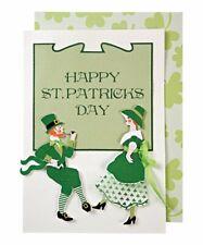 MERI MERI  St. Patrick's Day Card with Irish Dancers Leprechauns - Velvet Ribbon