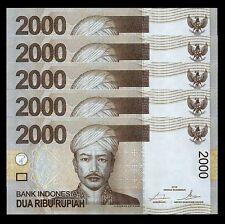 INDONESIA 2000 RUPIAH 2009 2016 , UNC , 5 PCS CONSECUTIVE LOT , P-148 NEW DATE