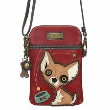Chala Womens Cell Phone Crossbody Purse Chihuahua Dog Convertible Strap Red New
