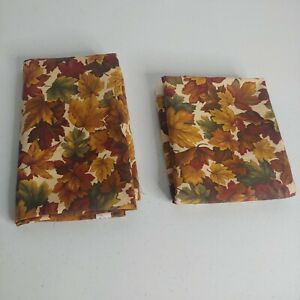 """Cranston VIP Autumn Fall Leaves Fabric 1 Yard + 32""""x51"""" 2 Pieces Remnant Brown"""