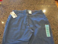 Lee NWT At The Waist Elastic Blue Denim Jeans Womens 24 W petite Relaxed Tapered
