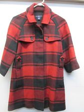 GAP Women's XS Red Buffalo Plaid Wool Blend Pea Coat 3/4 Inch Sleeves