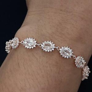8.00ctw Peach Morganite & Diamond Cut White Sapphire 14K Rose Gold 925 Bracelet