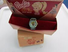 Vintage Barbie Doll Watch Turquoise Blue Leather Band Rare Mattel Box 1964 Swirl