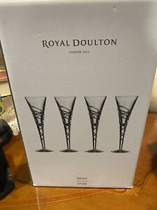 4 New Royal Doulton Saturn Crystal Flute Champagne Glasses.