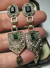 Vintage Style Art Deco Emerald Rhinestone Crystal Jewellery Statement EARRINGS