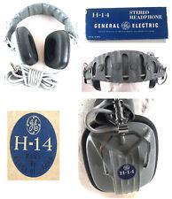 Vintage GE Elega H-14 Stereo Hi-Fi Headphones Fujiki Electric Tokyo Japan Box