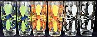 10 Vintage Retro Mid Century Colourful Highball Glasses 300ml 15ml high