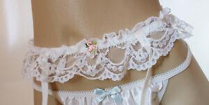 """Vintage Frilly Lace Hook & Eye White Suspender Belt UK 31-34"""" Hips"""