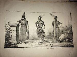 ALGÉRIE. JUIVE D'ALGER et FEMMES MAURESQUES. Lithographie de 1830.