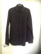 NEXT MENS BLACK STRIPED EASY IRON REGULAR FIT SHIRT SIZE LARGE BNWT