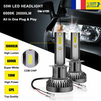 110W H1 Voiture LED Ampoules Phare Feux Remplacer Lampes Kit 20000LM 6000K Blanc