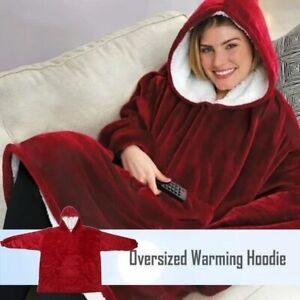 Oversize Warming Hoodie Hooded Plush Outdoor Robe Soft Warm Wearable TV Blanket