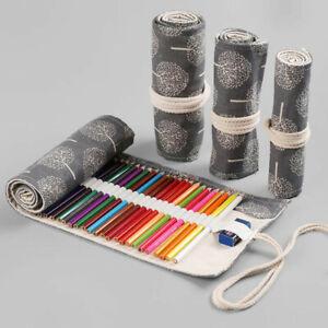 12/24/36/48/72 Hole Roll Up Pencil Case Pen Pouch Makeup Holder Bag Canvas Wrap