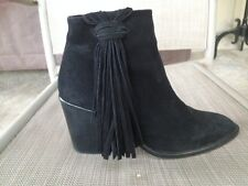 ZARA Black Suede Ankle Boots with Fringe Trim Sz 38 US 7.5 8