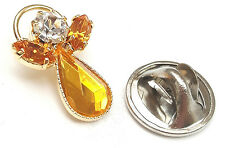 Message Angel Birthstone Topaz Crystal Pin Badge