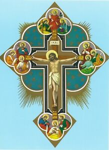 Catholic Print Picture CRUCIFIX with 12 Apostles - ready to frame