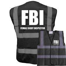 FBI FEMALE BODY INSPECTOR FUNNY BLACK VEST HI VIZ VIS STAG PARTY