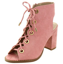 New Women Vegan Suede Peep Toe Lace Up Chunky Block High Heel Ankle Booties Boot