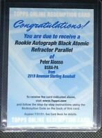 PETER ALONSO Bowman Sterling Black Atomic REFRACTOR auto Redemption 1/10 SSP