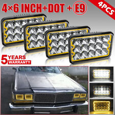 For Ford Mustang 1979-1986 LTD 4PCS LED Headlights with Halo DRL 300W High Power