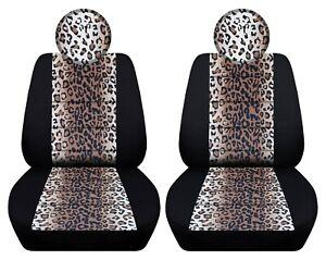 Fits 2013-2018 Fiat 500 Pop /Lounge  front set car seat covers  blk tan leopard