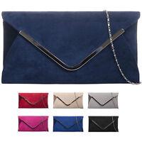 Ladies Designer Suede Style Envelope Clutch Bag Evening Bag Party Handbag KZ320