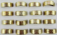 FREE Wholesale Mixed 12Pcs Stainless Steel Gold Women Men Ring Fashion Jewelry