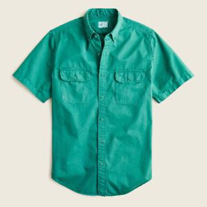 J.CREW Short-Sleeve Garment-Dyed Vintage Twill Workshirt Green