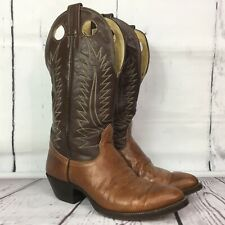 Nacoma Cowboy Boots Mens size 8.5 D Two Tone Brown Leather Pull Hole Shaft