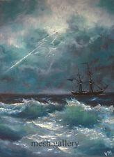 FRAMED ORIGINAL OIL PAINTING MESH FINE ART MARINE SEASCAPE Thunderstorm SHIP SEA