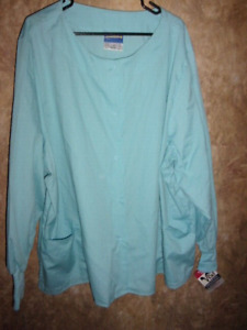 Crest Lt. BLUE LONG SLEEVE SCRUB TOP SIZE 4XL (2 POCKETS)SNAPS,WARM UP,STYLE 113