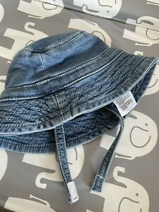 Baby boy Denim Look Cotton sun hat 0-3 Mothercare