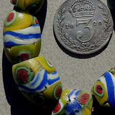 7 old antique venetian oval millefiori african trade beads #1311