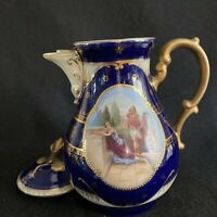 Antique Royal Vienna Victoria Austria Cobalt Classical Hand Painted Scene Teapot