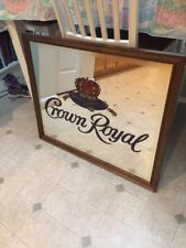 33X27 INCH CROWN ROYAL WHISKEY MIRROR WITH WOOD FRAME