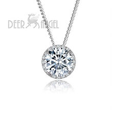 925 Sterling Silver 2.5 ct Round White Cubic Zircon Crystal CZ Pendant Necklace