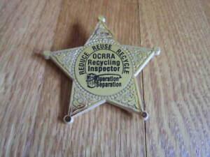 Syracuse NY Onondaga County OCRRA Recycling Inspector Plastic Star Badge