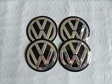 4 New 90mm Black/Chrome VW Wheel Center Hub Cap Decals Emblems Logos  Free Ship