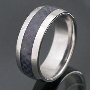 Edelstahl-Ring mit Carbon-Einlage - RACING - Schmuck - NEU Geschenk