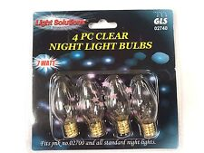 4-pack CLEAR NIGHT LIGHT BULBS 7 watt 02740 fits all standard night lights