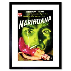 "Book Cover Pulp Fiction Marijuana Irish Murder Killer Evil Framed Print 12x16"""