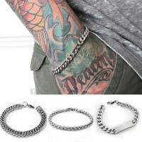 Mens Women Silver Stainless Steel Bracelet Wristband Bangle Cuff Curb Chain Link